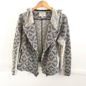 Lucky Brand XL black Grey Moto sweater jacket